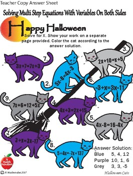 Solving Multi Step Equations Halloween Coloring Sheet
