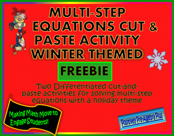 Solving Multi-Step Equations Holiday Theme FREE