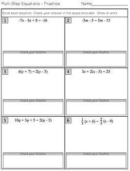 Multi-Step Equations - Interactive Notes, Worksheet and Assessment
