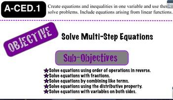 Solving Multi Step Equations Lesson 2