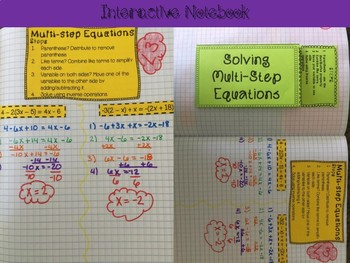 Solving Multi-Step Equations Foldable, INB, Practice, Exit Ticket