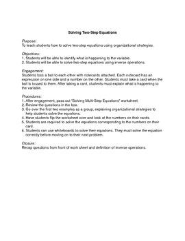 Solving Multi-Step Equations Lesson