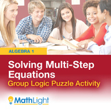 Solving Multi-Step Equations Logic Puzzle Group Activity