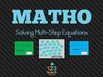 Solving Multi-Step Equations MATHO (BINGO) Powerpoint Review Game