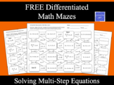 Solving Multi-Step Equations Math Maze