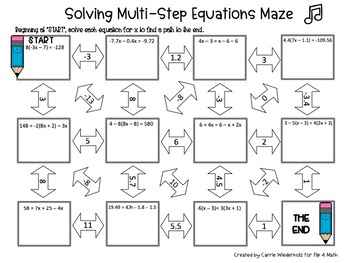 Solving Multi-Step Equations Maze