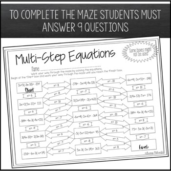 Solving Multi-Step Equations Maze