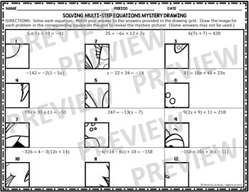 Solving Multi-Step Equations Mystery Drawing