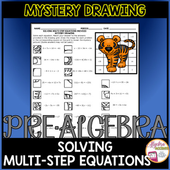 Solving Multi-Step Equations (Novice Level) Mystery Drawing