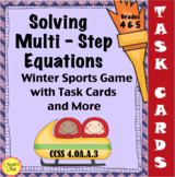 Solving Multi-Step Equations Winter Sports Game with Task Cards:  CCSS Aligned