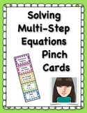 Solving Multi-Step Equations Pinch Cards