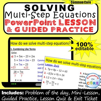 SOLVING MULTI-STEP EQUATIONS PowerPoint Mini-Lesson & Guided Practice