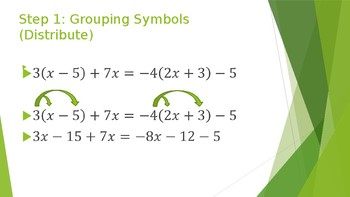 Solving Multi Step Equations PowerPoint with notes