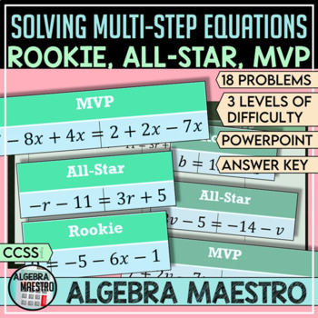 Solving Multi-Step Equations Practice - Rookie, All-Star,