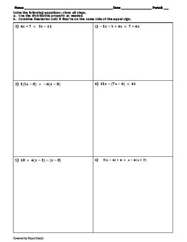 Solving Multi-Step Equations Practice Worksheet