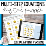Multi-Step Equations Puzzle - Digital and Print for Distan