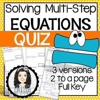 Solving Multi-Step Equations QUIZ