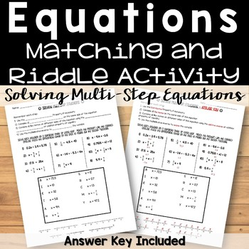 Solving Multi-Step Equations Riddle