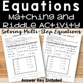 Solving Multi-Step Equations Riddle Activity
