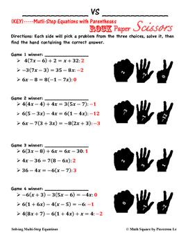 Solving Multi-Step Equations Rock Paper Scissors