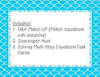 Solving Multi-Step Equations Activity Set {3 Activities!}
