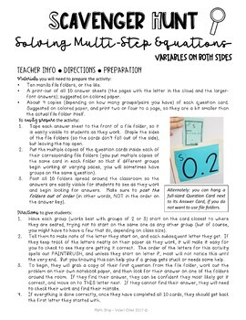 Solving Multi-Step Equations Scavenger Hunt Looping Activity