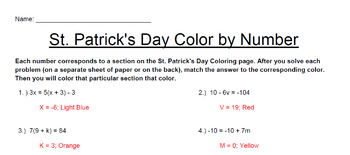 Solving Multi-Step Equations -- St. Patrick's Day