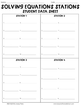 Multi-Step Equations : Middle School Math Stations