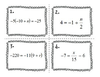Solving Multi-Step Equations Task Cards