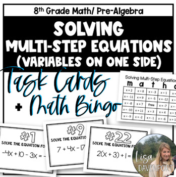 Solving Multi-Step Equations (Task Cards & MATHO)