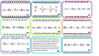 Solving Multi-Step Equations Task Cards: Single Solution, No Solution, Infinite