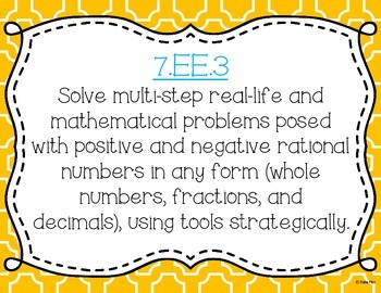 Solving Multi-Step Equations Task Cards and Poster Set *7.EE.3 & 7.EE.4