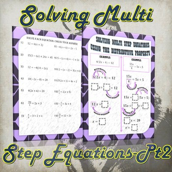 Solving Multi Step Equations Using the Distributive Property