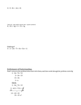 Solving Multi-Step Equations (Variables on Both Sides) - Notes