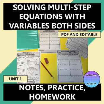 Solving Multi-Step Equations Variables on Both Sides Notes Practice Homework U1