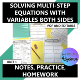 Solving Multi-Step Equations Variables on Both Sides Notes