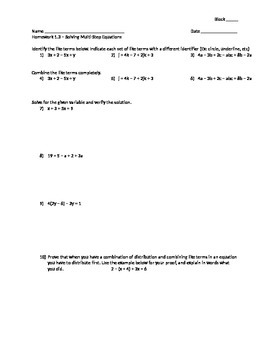 Solving Multi-Step Equations (Variables on One Side) - Assignment