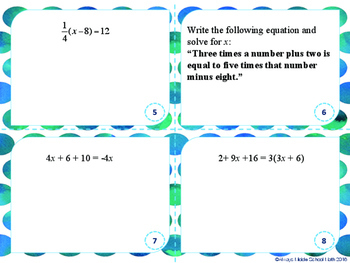 Solve Multi-Step Equations (variables on both sides Task Cards) Scoot!