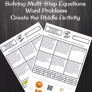 Solving Multi-Step Equations Word Problems Create the Riddle Activity
