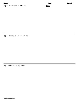Solving Multi-Step Equations Worksheet - Teaching the Lesson