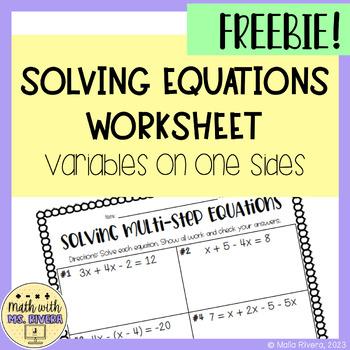 Solving Multi-Step Equations Worksheet {Variables on One Side} - FREEBIE