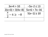 Solving Multi-Step Equations and Inequalities Card Match