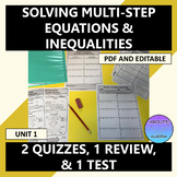 Solving Multi-Step Equations and Inequalities Quiz, Review