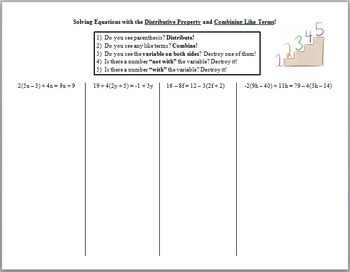Solving Multi-Step Equations with Distributive Property and Combining Like Terms