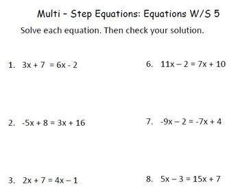 "Solving Multi Step Equations with ""Equation Estates"""