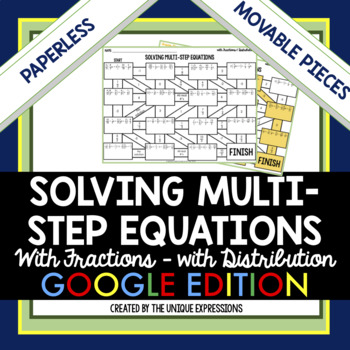Solving Multi-Step Equations with Fractions & Distribution Digital Maze Activity