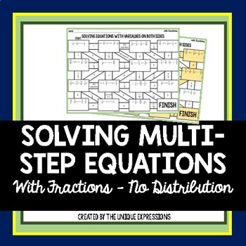 Solving Multi-Step Equations with Fractions Maze Activity