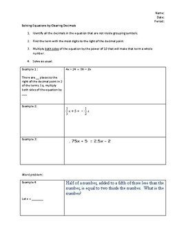 Solving Multi-Step Equations with Fractions and Decimals