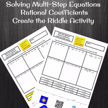 Solving Multi-Step Equations with Rational Coefficients Create a Riddle Activity