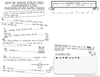 Solving Multi-Step Equations with Variables on Both Sides - Doodle Note Brochure